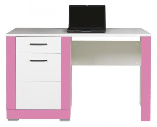 Detský pracovný stôl Lightning - Písací stôl (biela, ružová)