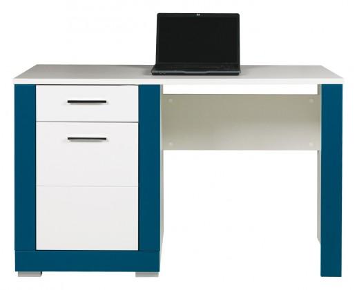 Detský pracovný stôl Lightning - Písací stôl (biela, tyrkys)