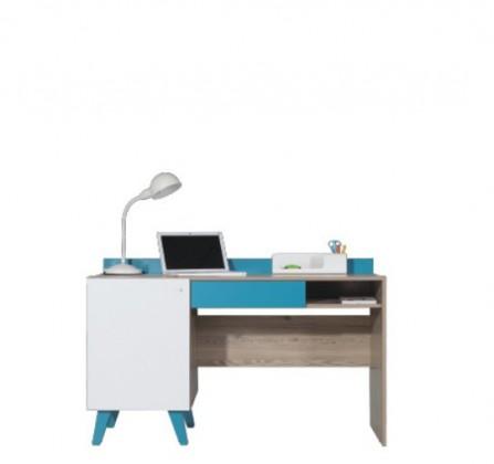 Detský pracovný stôl SAJMON SJ 16 (smrekovec/biela lesk/tyrkysová)