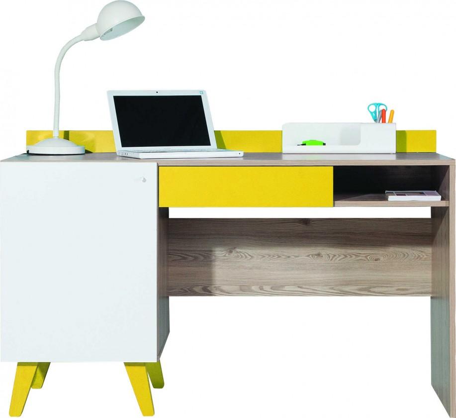 Detský pracovný stôl SAJMON SJ 16 (smrekovec/biela lesk/žltá)
