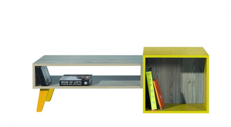 Detský pracovný stôl SAJMON SJ 18 L/P (smrekovec/žltá)