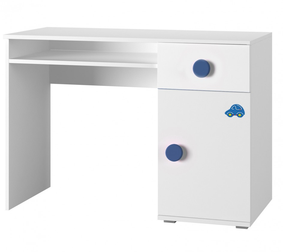 Detský pracovný stôl Simba 12(korpus biela/front biela a modré autíčko)