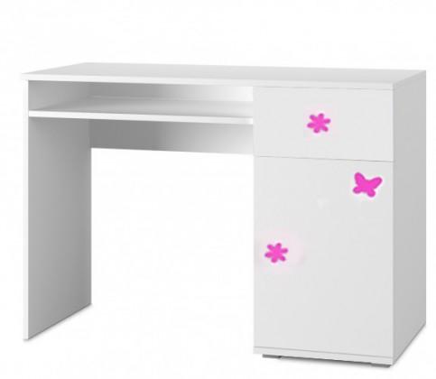 Detský pracovný stôl Simba 12(korpus biela/front biela a ružový motýlik)