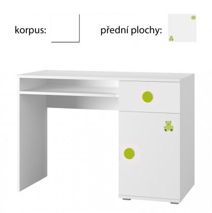 Detský pracovný stôl Simba 12(korpus biela/front biela a zelený medvedík)