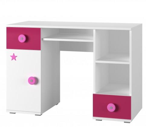 Detský pracovný stôl Simba 13(korpus biela/front biela a ružová)