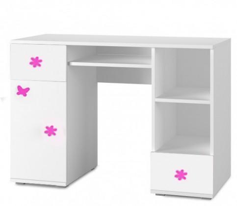 Detský pracovný stôl Simba 13(korpus biela/front biela a ružový motýlik)
