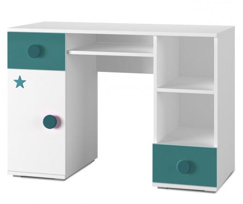 Detský pracovný stôl Simba 13(korpus biela/front biela a tyrkysová)