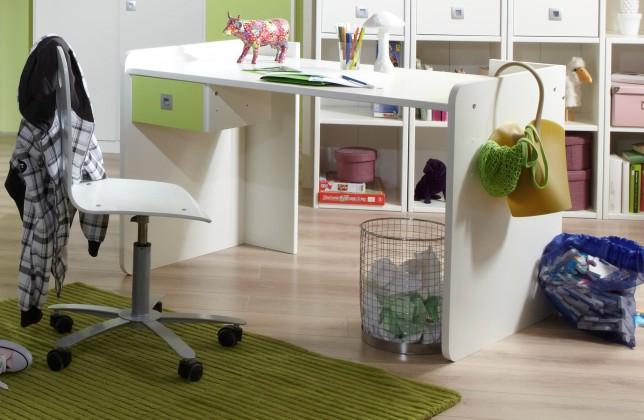 Detský pracovný stôl Sunny - Pracovný stôl (alpská biela so zeleným jablkom)