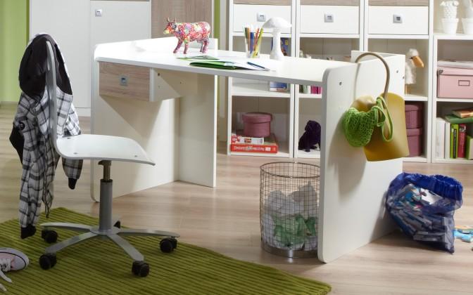 Detský pracovný stôl Sunny - Pracovný stôl (dub, alpská biela)