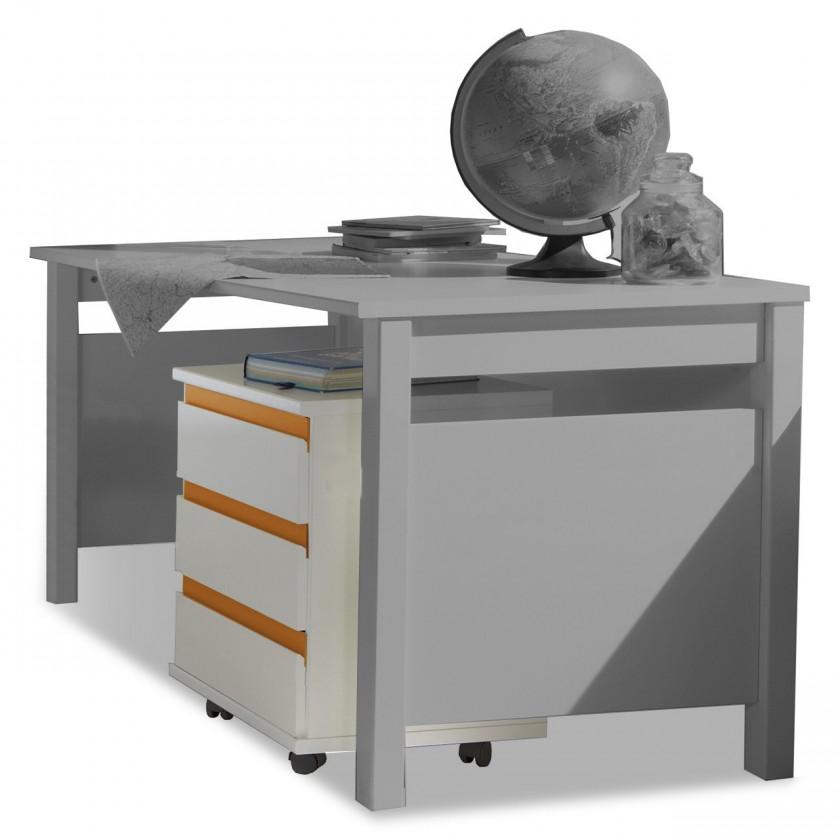 Detský regál Bibi - Mobilný regál (alpská biela, oranžová)