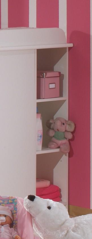 Detský regál Cinderella - Regál k Prebaľovacímu pultu (biela, růžová)