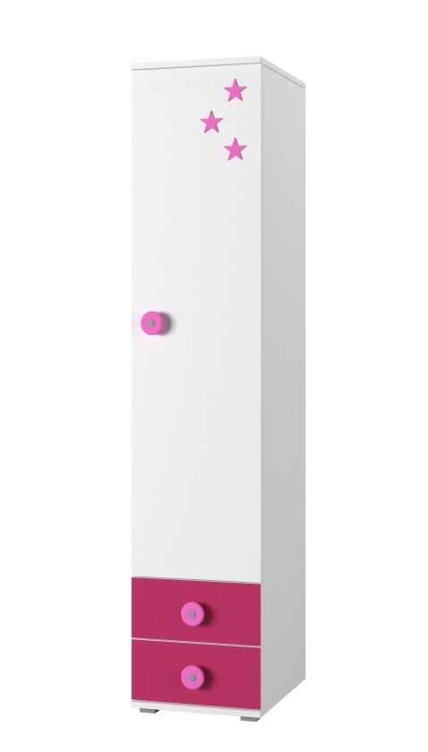 Detský regál Simba 2(korpus biela/front biela a ružová)