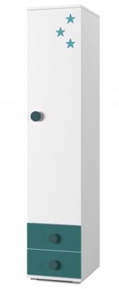 Detský regál Simba 2(korpus biela/front biela a tyrkysová)