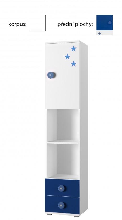 Detský regál Simba 4(korpus biela/front biela a modrá)