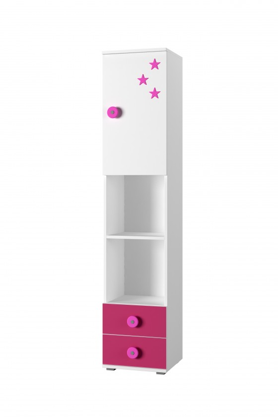 Detský regál Simba 4(korpus biela/front biela a ružová)