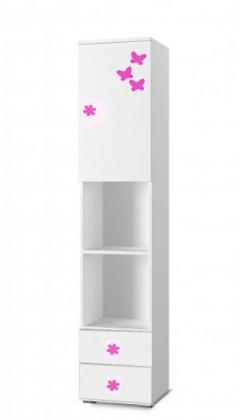 Detský regál Simba 4(korpus biela/front biela a ružový motýlik)