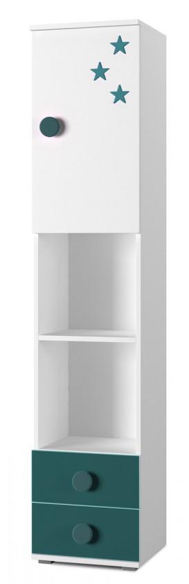 Detský regál Simba 4(korpus biela/front biela a tyrkysová)
