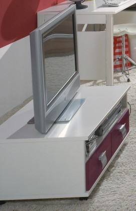 Detský TV stolík Jette - 366409 (alpská biela / ostružina)