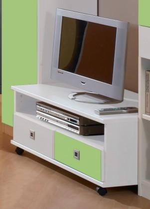 Detský TV stolík Sunny - TV stolík (alpská biela so zeleným jablkom)