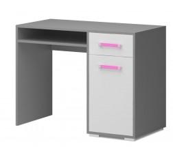 Diego 10 - Stôl (predná strana biela/sivé boky/růžový úchyt)