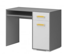Diego 10 - Stôl (predná strana biela/sivé boky/žltý úchyt)