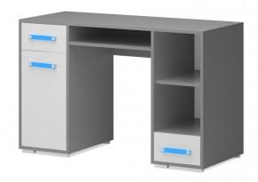 Diego 11 - Stôl (predná strana biela/sivé boky/modrý úchyt)