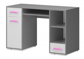 Diego 11 - Stôl (predná strana biela/sivé boky/růžový úchyt)