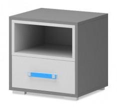 Diego 14 - Nočný stolík (biela/sivé boky/modrý úchyt)