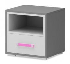 Diego 14 - Nočný stolík (biela/sivé boky/růžový úchyt)