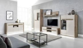 Diego - Obývacia zostava s komodou(country sivá/jazmín lesk,LED)