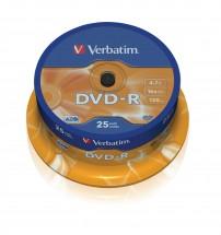 Disk Verbatim DVD-R, 4,7GB, bez možnosti potlače, 25 ks 43522