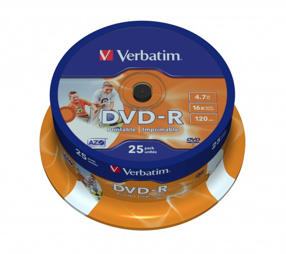 Disk Verbatim DVD-R, 4,7GB, Wide Printable, 25 ks 43538