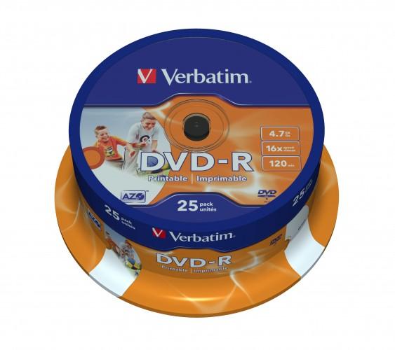 Disk Verbatim DVD-R, 4,7GB, Wide Printable, 25 ks 43538