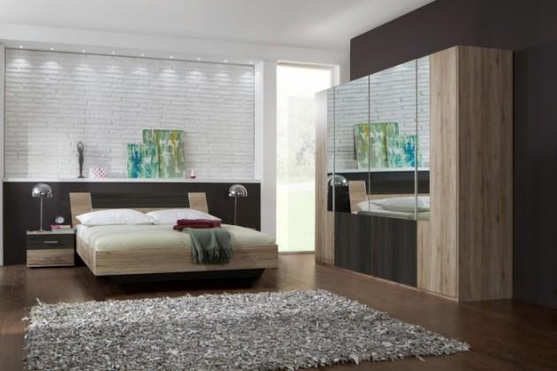 Dora - komplet velký, posteľ 180cm (dub, zrkadlo, wenge)