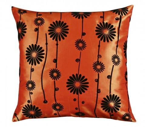 Dora - Vankúšik 45x45cm (oranžový s čiernym kvetom)