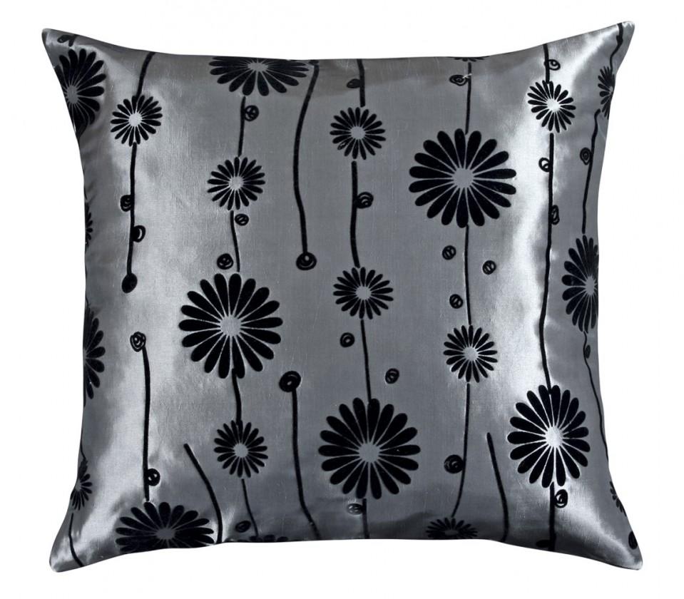 Dora - Vankúšik 45x45cm (sivý s čiernym kvetom)