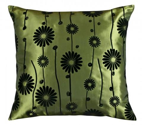 Dora - Vankúšik 45x45cm (zelený s čiernym kvetom)