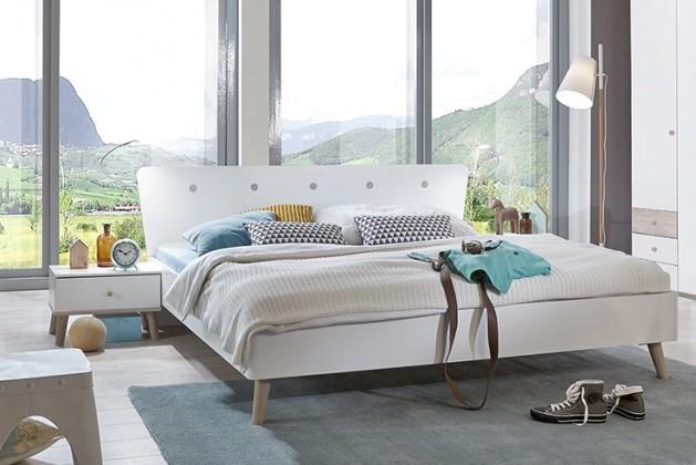 Drevená Bergen - Posteľ 140x200, 2x nočný stolík (dub/alpská biela)