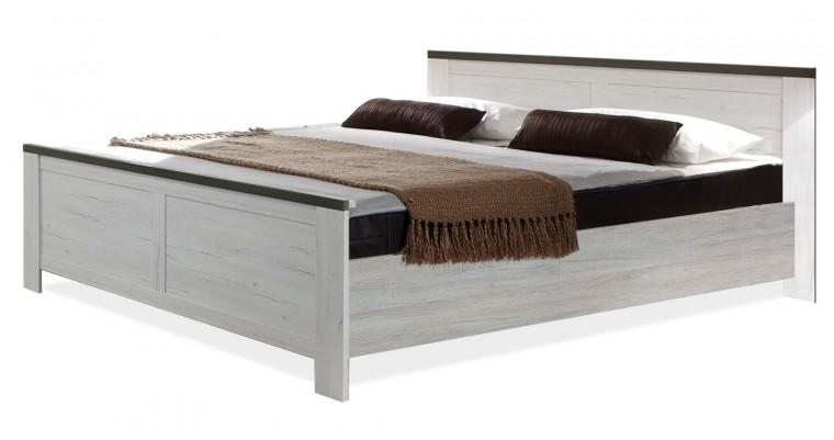 Drevená Chateau - posteľ 180x200 (dub biely/lava čierny)