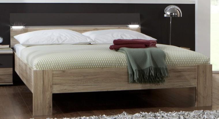 Drevená Madrid - posteľ 160 cm (dub san remo/lava čierna)