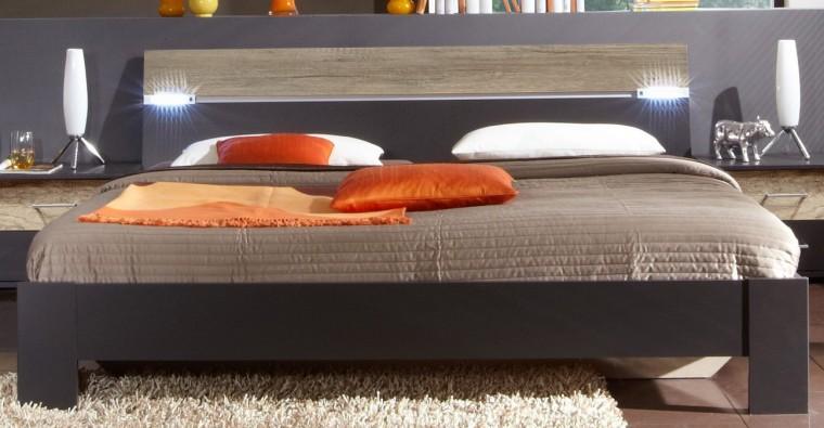 Drevená Madrid - posteľ 160 cm (lava čierna/divoký dub)