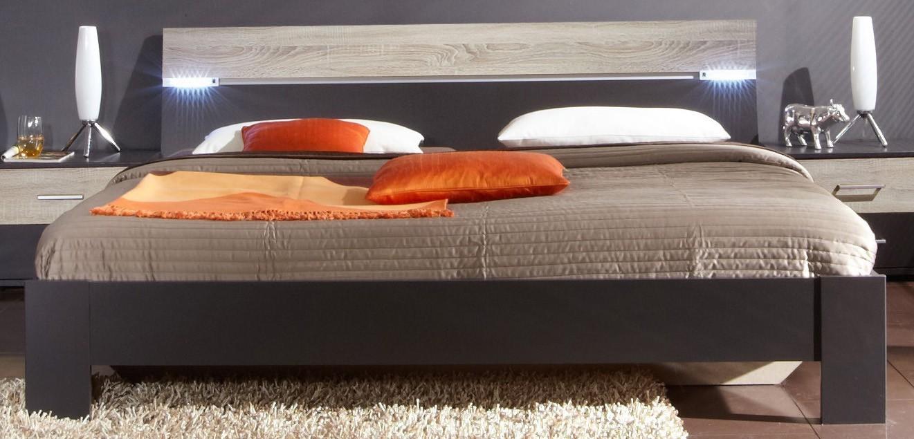 Drevená Madrid - posteľ 160 cm (lava čierna/dub)