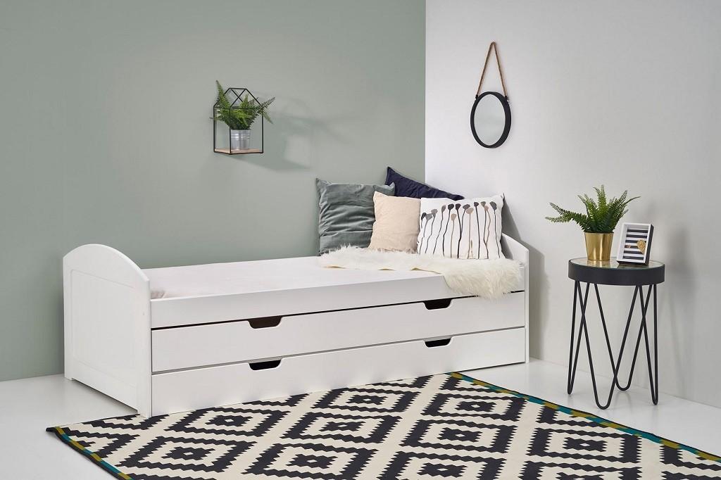 Drevená posteľ Dvojlôžková posteľ Lexia, ÚP (biela)