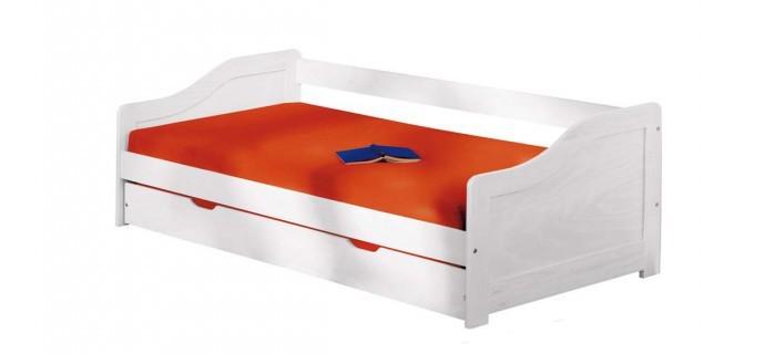 Drevená posteľ Posteľ Lucie 90x200, biela, vrátane roštu, bez matracov