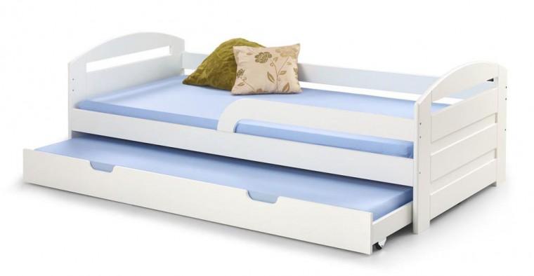 Drevená posteľ Posteľ Naty 90x200, biela, bez matracov