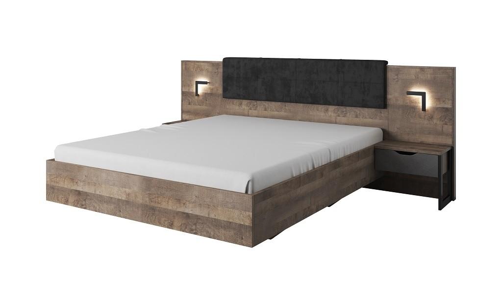 Drevená posteľ Rám postele Laura 160x200 cm (dub grande pieskový/matera)
