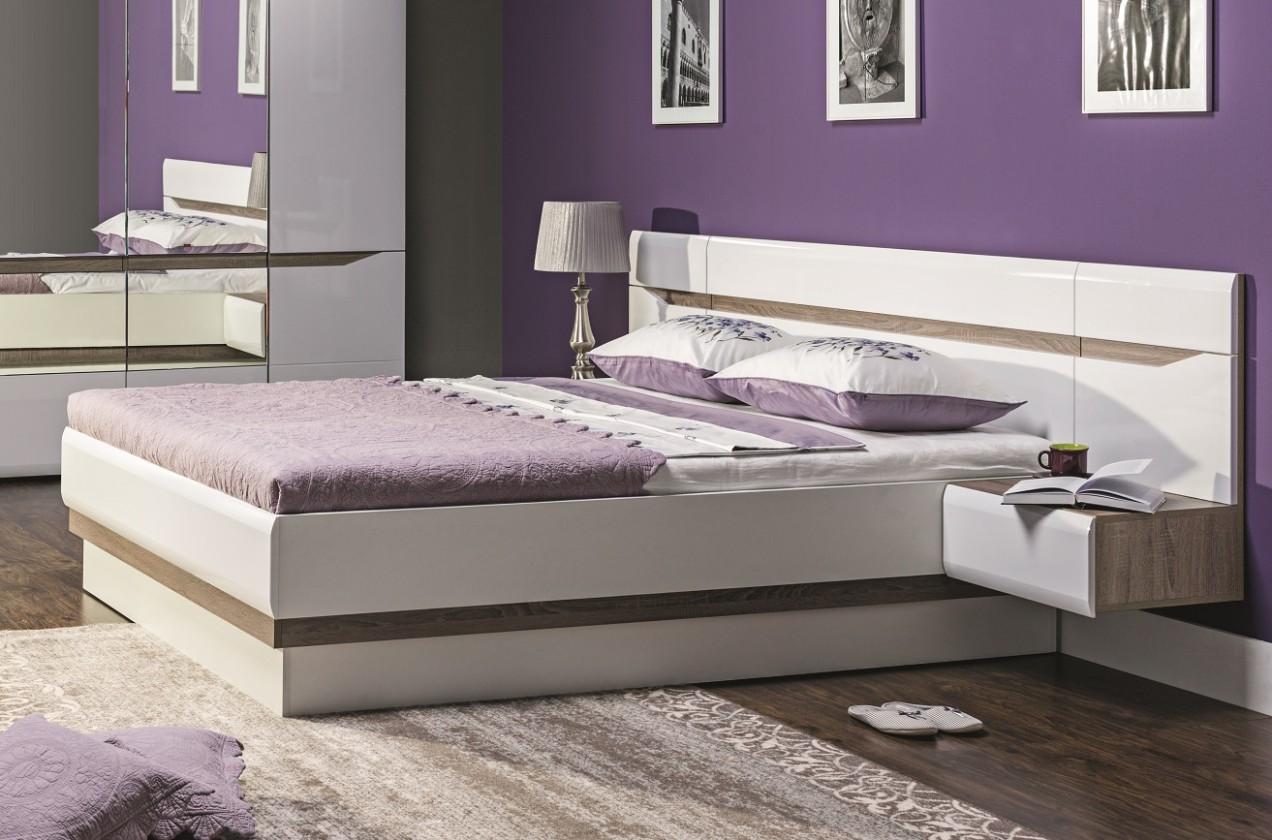 Drevená posteľ Rám postele Leone 180x200, dub, bílá
