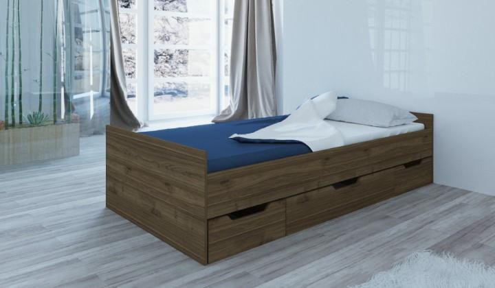 Drevená posteľ Rám postele Suen 90x200, orech admiral, ÚP, bez roštu a matraca