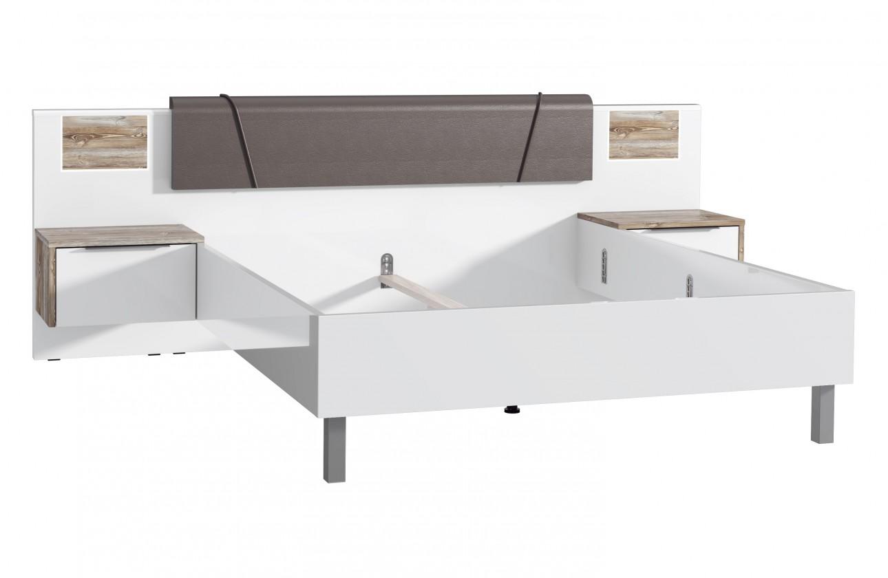 Drevená Rám postele Selly, 2x nočný stolík, sosna/biela vysoký lesk