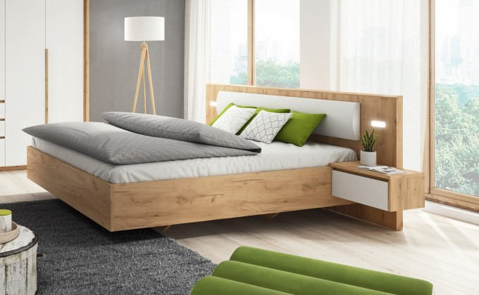 Drevená Rám postele Xelo 160x200, 2x nočný stolík, bez roštu, mat. a úp